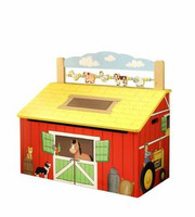 Teamson Design Kids Happy Farm Wooden Toy Box