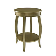 Powell Round Table with Shelf - Gold
