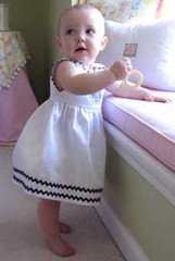 Princess Linens Garden Princess Dress White with Midnight Pansy Trim