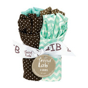 Trend Lab Cocoa Mint 4 Pack Bib Set
