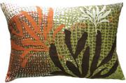 "Koko Company Ecco 13"" x 20"" Pillow with Rust and Brown Leaves"