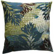 "Koko Company Ecco 18"" x 18"" Embroidered Pillow - Blue and Brown Leaf"