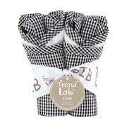 Trend Lab Black and White Gingham Seersucker Bib Set