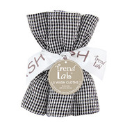 Trend Lab  Black and White Gingham Seersucker Wash Cloth Set