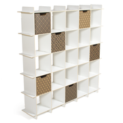 Sprout Kids 25 Cubby Mid Century Bookcase - White