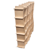 Sprout Kids 25 Cubby Wave Mid Century Bookshelf - Raw Baltic Birch