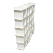 Sprout Kids 25 Cubby Wave Mid Century Bookshelf - White
