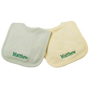 Princess Linens Personalized Sage/Yellow Bib Set