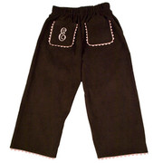 Princess Linens Corduroy Pants - Brown/Pink