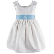 Princess Linens Garden Princess Pique Dress-Light Blue Sash