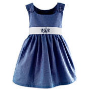 Princess Linens Garden Princess Navy Gingham Dress-White Sash
