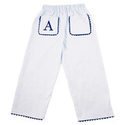 Princess Linens  Pique Pants-White/Navy
