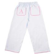 Princess Linens Pique Pants-White/Light Pink