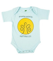 The Green Creation Growing Quickly Naturally Short Sleeve Bodysuit in Bubble Blue - Size 6 to 12 Months