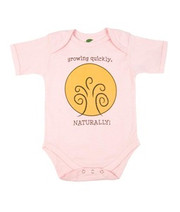 The Green Creation Growing Quickly Naturally Short Sleeve Bodysuit in Rose Pink - Size 3 to 6 Months