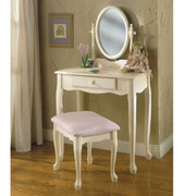 Powell Off-White Vanity, Mirror & Bench