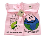 The Green Creation T-Shirt Combo - Hip in Organics and Happy Camper in Rose Pink - Size 12 to 18 Months.