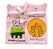 The Green Creation T-Shirt Combo - Wrapped in Organic and Growing Quickly Naturally in Rose Pink - Size 12 to 18 Months.