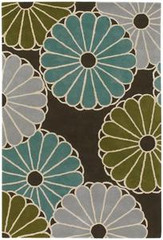 Chandra Rugs Thomas Paul - Tufted Pile Parasols Chocolate-Aqua-Green Area Rug