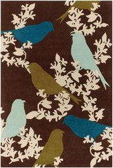 Chandra Rugs Thomas Paul - Tufted Pile Goldfinch Chocolate-Aqua-Green Area Rug