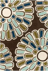 Chandra Rugs Thomas Paul - Tufted Pile Flora Chocolate-Aqua-Green Area Rug