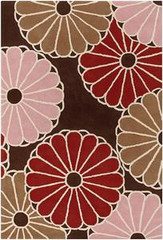 Chandra Rugs Thomas Paul - Tufted Pile Parasols Chocolate-Taupe-Persimmon Area Rug