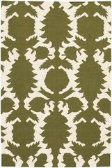 Chandra Rugs Thomas Paul - Flatweave Dhurrie Flock Green-Cream Area Rug