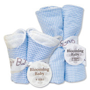 Trend Lab Blue Gingham Seersucker Bib and Burp Set