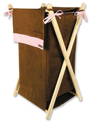 Trend Lab Brown-Pink Ultrasuede Hamper Set