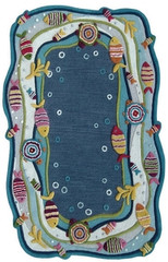 Kinderloom Fish Land Blue Area Rug 5' x 7'