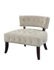 Powell Lady Slipper Tufted Accent Chair with Cream Velour Corduroy Fabric