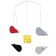 Flensted Mobiles Cheese Mice Mobile - Black-Grey