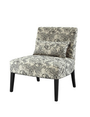 Powell Lila Armless Chair with Black and White Floral