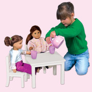 Guidecraft Doll Table and Chairs Set - White