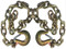 """Set of 2) Gold Trailer Safety Chains - 3/8 x 39"""" with 1 Clevis Hook (27.4k Capacity)"""