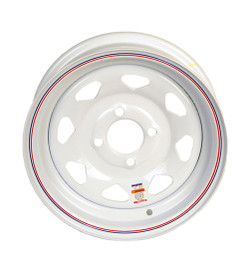"12"" White Spoke Steel Trailer Wheel 4 lug on 4"