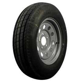 "AllStar 15"" 6 ply Bias Trailer Tire & Wheel - ST 205/75D15 - 5 lug (Silver Mod)"