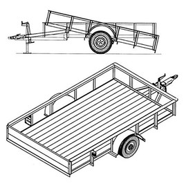 "1110T 6'4"" x 10' Single Axle 3.5K Utility Tilt Trailer DIY Master Plan - 16 How-to Steps w/ Blueprint"