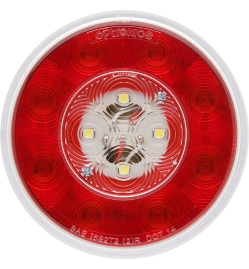 Red 4in Round LED S/T/T Light w/Built-in Back-up