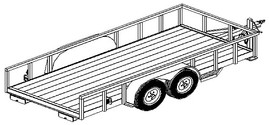"1216 - 6'6"" x 16' Tandem Axle 7K Utility Lowboy Trailer DIY Master Plan -17 How-to Steps w/ Blueprint"