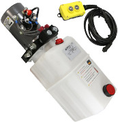 Dump Trailer KTI Single Acting Hydraulic Pump (Power Up, Gravity Down) with Remote