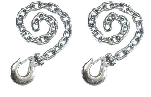 """Set of 2) Silver Trailer Safety Chains - 3/8 x 36"""" with 1 Clevis Hook (16.2k Capacity)"""