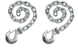"Set of 2) Silver Trailer Safety Chains - 3/8 x 36"" with 1 Clevis Hook (16.2k Capacity)"