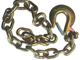 "Gold Trailer Safety Chain - 1/4 x 30"" with 1 Clevis Hook (12.6k Capacity)"