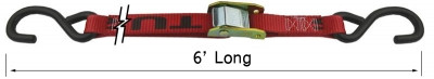 Snappin Turtle 6' Cam Buckle Tie Down Assembly W/Coated S-Hooks - (6,000 Lb Capacity)