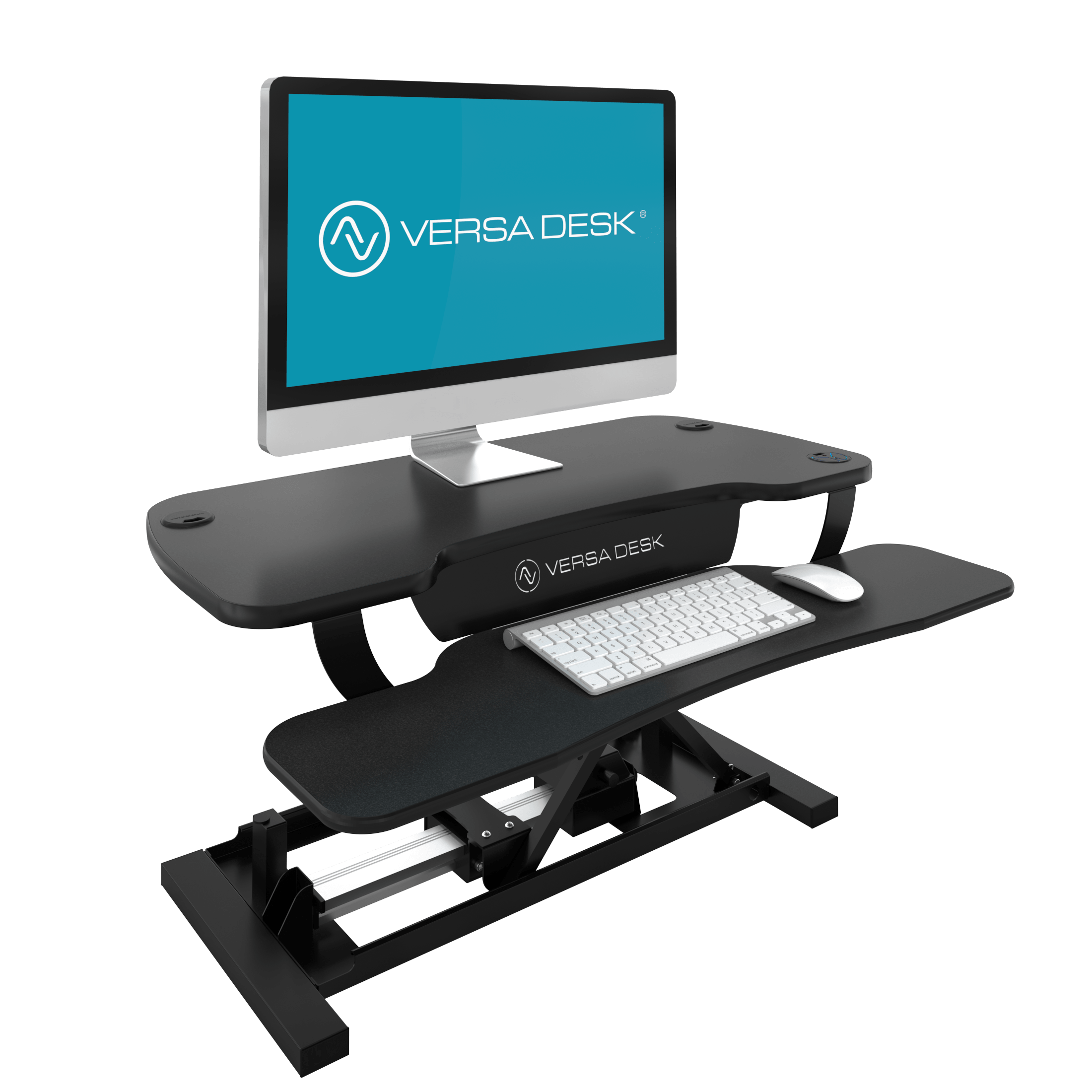 PowerPro® Black - Sit To Stand Electric Desk Converter With USB Charging Plug