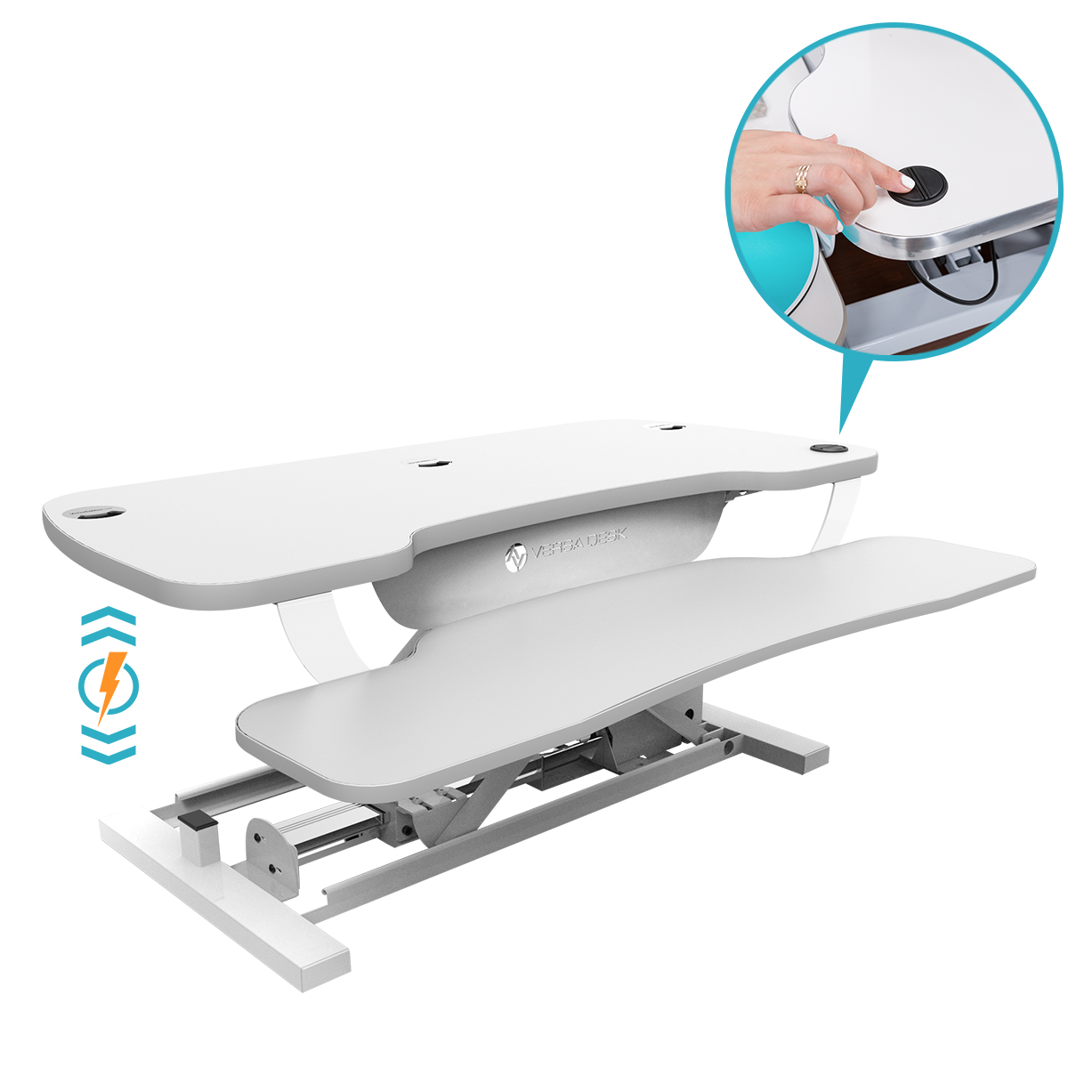 Electric height adjustment of the power pro standing desk converter from VersaDesk.