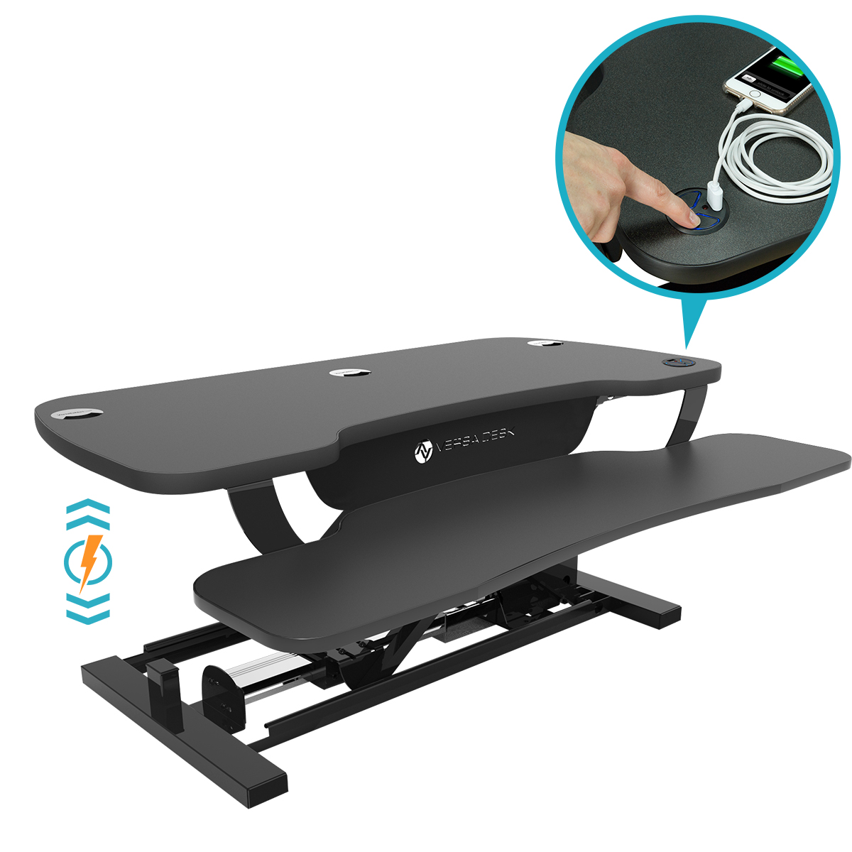 Choose a clean looking Black Matrix Surface for your Power Pro Plus Sit Stand Desk