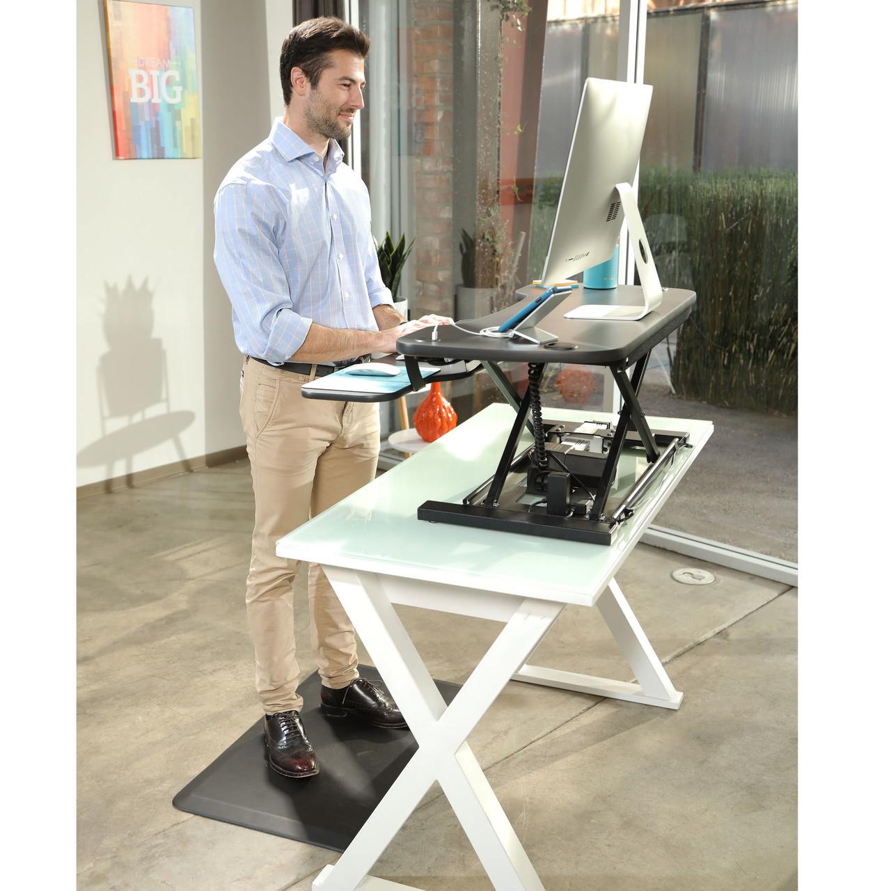 Adjustable Standing Desk Converter With Electric Power Versadesk