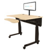 Black Single Monitor Arm Mount | Attached With Grommet Hole | Monitor Attached | Maple Woodgrain Power Lift Sit-to-Stand Desk System